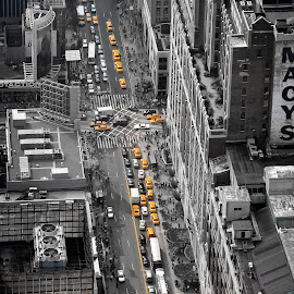 Yellow cabs on 34th street by Mirsad Mehulic - City,  Street & Park  Street Scenes ( cab, 34th, manhattan, new york, yellow, selective color, pwc )