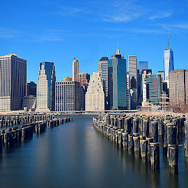 Downtown Manhattan from Brooklyn side. by Andrew Piekut - City,  Street & Park  Skylines