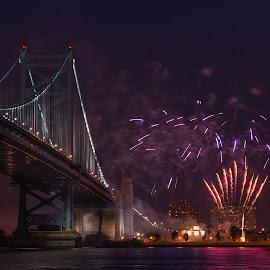 Fireworks by Linda Karlin - City,  Street & Park  Night ( fireworks., night )