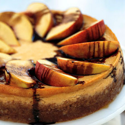 Peach and Mascarpone Cheesecake with Balsamic Syrup