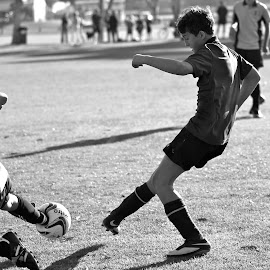 Moment of Impact by Monica Jakovich - Sports & Fitness Soccer/Association football ( blackandwhite, ball, school, football, black and white, sports, children, match, impact, soccer )