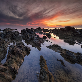 Epic Sunrise at Pantai Pandak Dalam by Nur Ismail Mohammed - Landscapes Waterscapes ( reflection, epic, seascape, sunrise, rocks )
