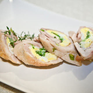 Chicken Leg Quarters Stuffed with Eggs and Green Onions