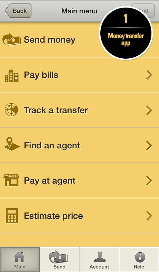 Western Union Money Transfer Screenshot 0