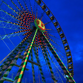 Colors Of The Evening by Marco Bertamé - City,  Street & Park  Amusement Parks ( lights, funfair, schueberfouer, luxembourg, ferris wheel )