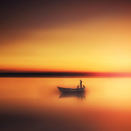 Lost in Golden Sea by Ehab Monther - Digital Art People ( water, warm, sunset, sea, seascape, fishing, landscape, boat, people, fishing boat, fishman )
