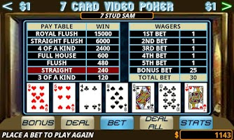 Screenshot of Seven Card Video Poker