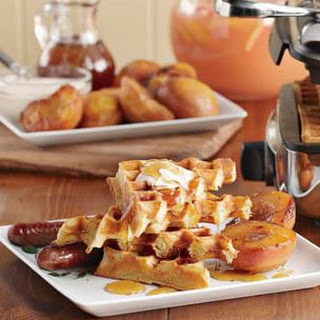 Waffles with Honey-Caramelized Peaches & Crème Fraiche