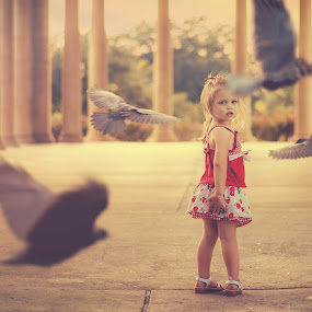 The Totem (As The Crow Flies) by Shaun Poston - Babies & Children Toddlers ( portraiture, child, bird, shaun poston, raven, fine art, children, crow, toddler, portrait, kid )