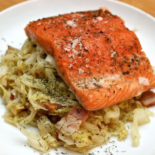 Slow-Roasted Salmon with Cabbage, Bacon, and Dill