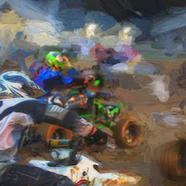4 Wheel Dirt Dancing  by Doug Miller - Artistic Objects Other Objects ( quad, dirt track racing, ama, competition )