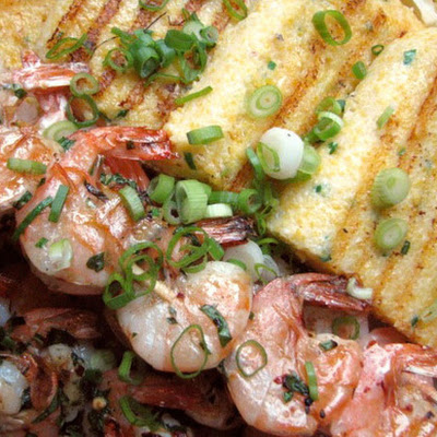 Grilled Shrimp with Chive Polenta Cakes