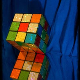 Be Smart, Play With Me by Cecilia Sterling - Artistic Objects Education Objects ( abstract, mirror, blue, rubix cube, cube )