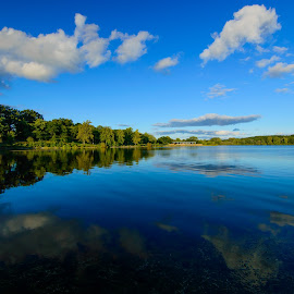 The Symmetry by Majid Uppal - Landscapes Travel ( clouds, water, reflection, sky, waterscape, trees )