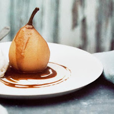 Poached Pears with Warm Coffee Sauce Recipe