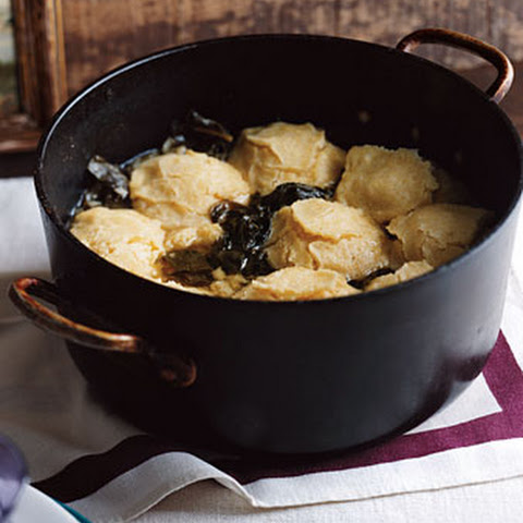 Simmered Greens with Cornmeal Dumplings
