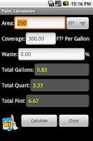 Screenshot of Feet Inch Material Calculator