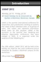 Screenshot of UMAP 2012