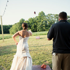 K by Julie Steinberg - Wedding Bride ( reception, wedding, fun, bride, cornhole, Wedding, Weddings, Marriage )