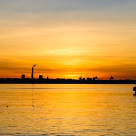 The border by Jeanette Birkholm - Landscapes Sunsets & Sunrises ( helsingborg, sweden, silhouette, harbour, helsingor, denmark, sunrise )