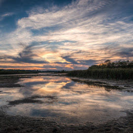 Kingfisher Lake by Charles Birch - Landscapes Waterscapes ( birds hill, kingfisher lake, sunset, marsh, manitoba )