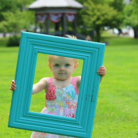 Frame Me by Abigail Beard - Babies & Children Child Portraits ( child, sweet, frame, girl, grass, dress, summer, baby, toddler, portrait )