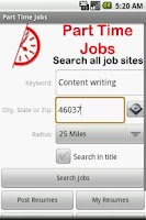 Screenshot of Part Time Jobs