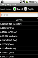 Screenshot of Conjugate Spanish Verbs