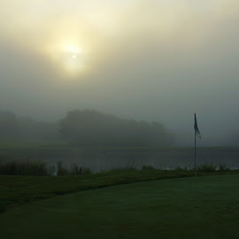 Foggy Morning Golf by Steve Parsons - Sports & Fitness Golf ( fog, golf, flag stick )