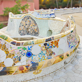 Famous long bench in the form of a sea serpent in Park Guell, Ba by Dotan Naveh - Artistic Objects Furniture ( catalonia, gaudi, park, guell, benck, barcelona, spain, public, bench, furniture, object )