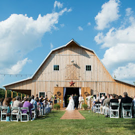 K&S by Julie Steinberg - Wedding Ceremony ( farm, sky, barn, wedding, summer, ceremony, Wedding, Weddings, Marriage )