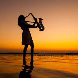 In sunset by Cheawchan GaladiaostStudio - People Musicians & Entertainers ( expression, concert, person, player, individual, silhouette, improvise, hat, band, tenor, improvisation, musician, black, wind, saxophonist, contour, groovy, musical, expressed, team, tune, dusk, dawn, sound, abstraction, hot, woodwind, one, object, outline, landscape, sun, saxophone, passion, man, note, blues, music, afternoon, jazz, play, instrument, human, improvised, color, sunset, summer, night, sunrise )