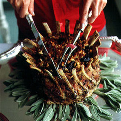 Roast Crown of Pork with Dried-Fruit Stuffing