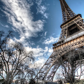 Eiffel Tower 5 by Ben Hodges - Buildings & Architecture Statues & Monuments ( paris, eiffel tower, europe, hdr, cloud, france, travel )