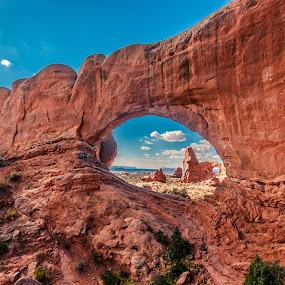 Turret Arch Through the North Arch by David Long - Landscapes Caves & Formations ( arches national park, turret arch, north arch )