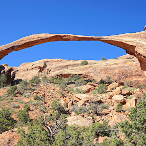 Landscape Arch by Jim Czech - Landscapes Caves & Formations ( cliffs, arches national park, rock formations, arch, utah )