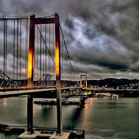 Stormy at Dusk over the Zampa Bridge by Jamie Valladao - Buildings & Architecture Bridges & Suspended Structures ( stormy, bay, zampa bridge, carquinez straits, bridge, dusk,  )