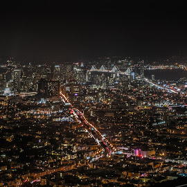 twin peaks San Francisco CA by Mike Drake - City,  Street & Park  Skylines ( lights, only bring heat, mkexplore, san francisico, twin peaks, california, 50mm, night, bay area, scenic, nikon, nightscape )