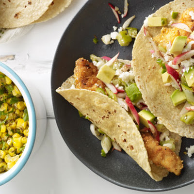 Fish Tacos with Tomatillo-Radish Salsa