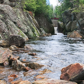 At the Bottom by Roberta Janik - Landscapes Waterscapes ( rushing water, rock walls, gorge, sunridge ontario, rocks, rock face, river )