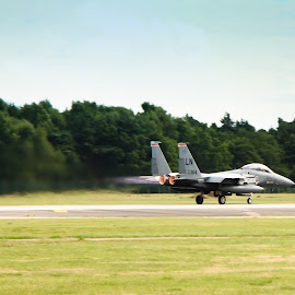 f15 by Samantha Bearman - Transportation Airplanes ( army, airport, airplane, runway, airbase, f15, take off, lakenheath, usa )