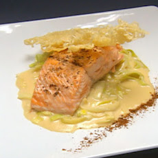 Salmon over Creamed Leeks with Apple Butter Sauce
