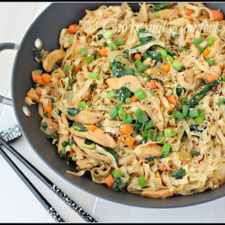 Chicken and Spinach Lo Mein Noodles