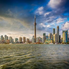 Toronto Canada by Rico Forlini - City,  Street & Park  Skylines ( water, skyline, blue shy, canada, toronto, cn tower, cityscape, torontowaterfront )