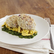 Quinoa Patties with Eggs and Spinach Pesto
