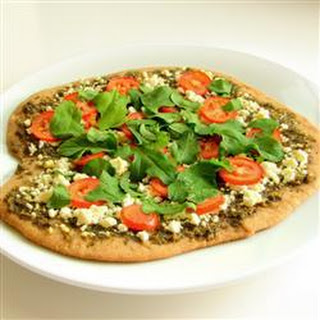 Pesto, Goat Cheese and Rocket Pizza