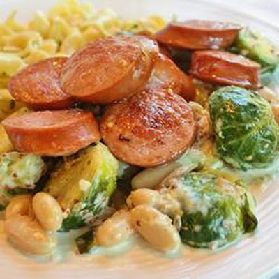Kielbasa with Brussels Sprouts in Mustard Cream Sauce