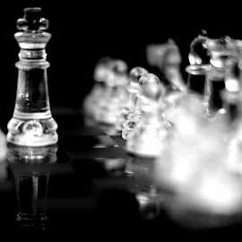 The Family by Janine Kain - Artistic Objects Glass ( queen, chess, game, king, black&white )