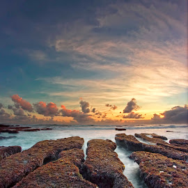 The Rock Sunset by Arya Satriawan - Landscapes Sunsets & Sunrises ( water, coral, sky, nature, color, national geographic, sunset, beach, landscape )