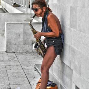 SAX by Zeljko Sajko-Saja - People Musicians & Entertainers ( zabavljači, glazbenik, grad, ulica, object, musical, instrument, , Travel, People, Lifestyle, Culture )